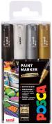 Uni-Ball PC-1M Posca Extra-Fine Bullet Tip Marker Pens - Mono Tone Colours (Pack of 4)