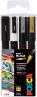 Uni-Ball PC-3M Posca Fine Bullet Tip Marker Pens - Mono Tone Colours (Pack of 4)