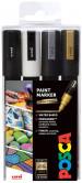 Uni-Ball PC-5M Posca Medium Bullet Tip Marker Pens - Mono Tone Colours (Pack of 4)