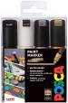 Uni-Ball PC-8K Posca Broad Chisel Tip Marker Pens - Mono Tone Colours (Pack of 4)
