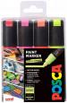 Uni-Ball PC-8K Posca Broad Chisel Tip Marker Pens - Fluorescent Colours (Pack of 4)