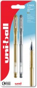 Uni-Ball UM-120NM Signo Gel Ink Rollerball Pens - Gold & Silver (Pack of 2)