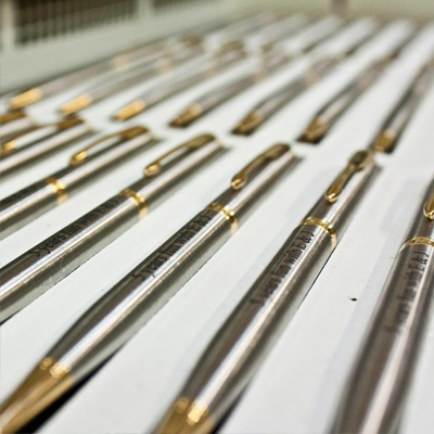 engraved pens in process